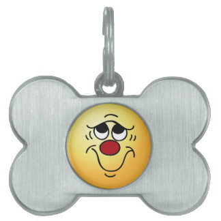 Insecure Smiley Face Grumpey Pet ID Tag