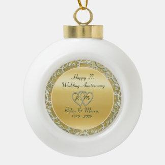 Insert Anniversary / Wedding Info Ceramic Ball Christmas Ornament