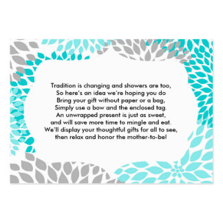 Insert card for baby bridal shower turquoise mums