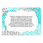 Insert card for baby bridal shower turquoise mums large business card