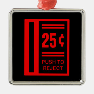 Insert Coin To Play Arcade Video Game Square Metal Christmas Ornament