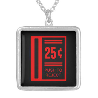 Insert Coin To Play Arcade Video Game Square Pendant Necklace
