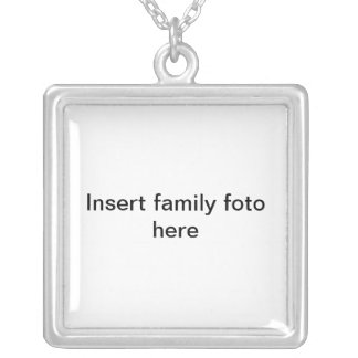 Insert family foto here square pendant necklace
