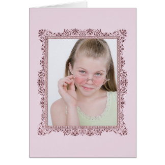 Insert Family Photo Antique Pink Frame Greeting Card