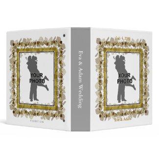 Insert Photo Wedding Binder White Gold Leaf binder