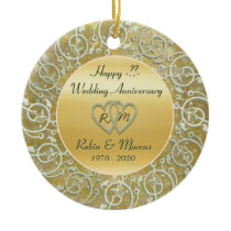 Insert Years Wedding Anniversary Ceramic Ornament
