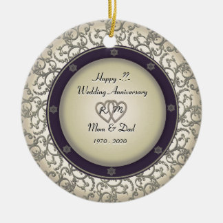 Insert Years Wedding Anniversary Double-Sided Ceramic Round Christmas Ornament