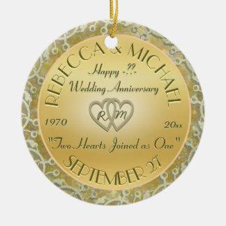 Insert Years Wedding Gold Wedding Anniversary Ceramic Ornament