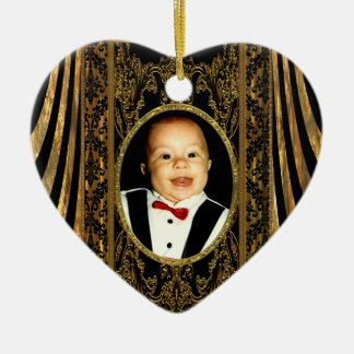Insert your own photo heart ceramic ornament