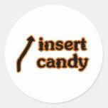 Inserte el caramelo pegatinas redondas