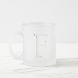 Inset Monogrammed Letter F Frosted Glass Coffee Mug