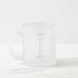 Inset Monogrammed Letter I Frosted Glass Coffee Mug