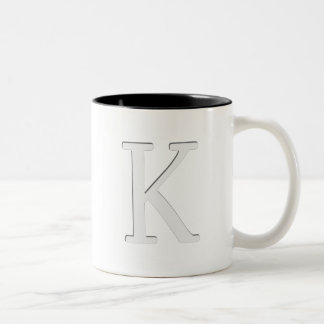 Inset Monogrammed Letter K Two-Tone Coffee Mug