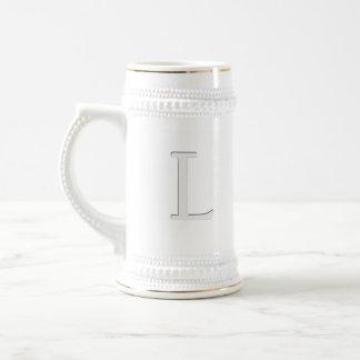 Inset Monogrammed Letter L Beer Stein