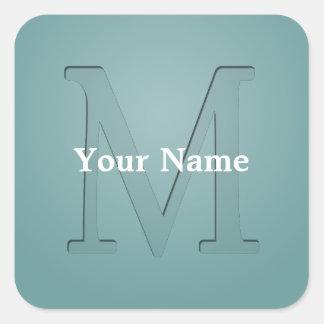 Inset Monogrammed Letter M Square Sticker