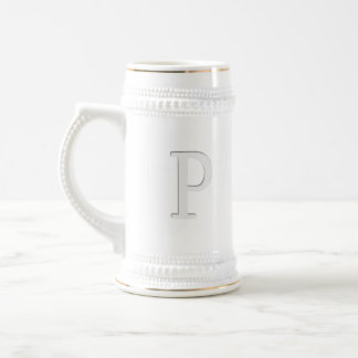 Inset Monogrammed Letter P Beer Stein