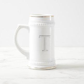 Inset Monogrammed Letter T Beer Stein