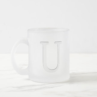 Inset Monogrammed Letter U Frosted Glass Coffee Mug