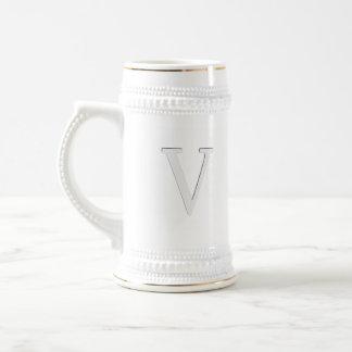 Inset Monogrammed Letter V Beer Stein