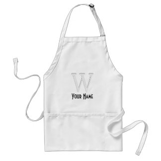 Inset Monogrammed Letter W Adult Apron