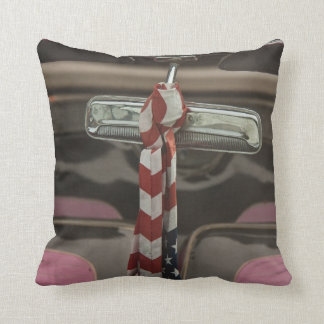Inside a rockabilly car throw pillows