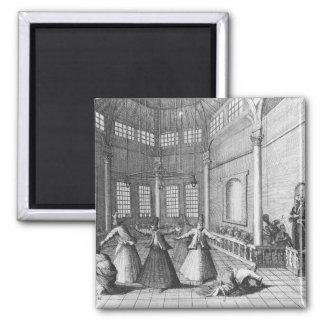 Inside a Turkish Mosque, illustration 2 Inch Square Magnet