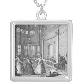 Inside a Turkish Mosque, illustration Silver Plated Necklace