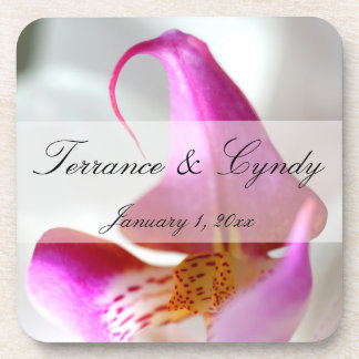 Inside a White Orchid Personal Wedding Beverage Coaster