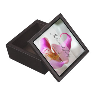 Inside a White Orchid Personal Wedding Jewelry Box