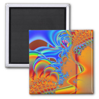 Inside I · Fractal Art · Blue & Orange 2 Inch Square Magnet