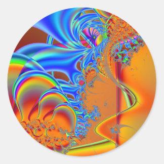 Inside I · Fractal Art · Blue & Orange Classic Round Sticker