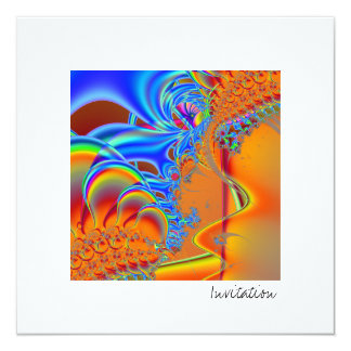 Inside I · Fractal Art · Blue & Orange 5.25x5.25 Square Paper Invitation Card