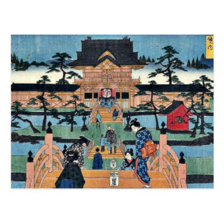 Inside Kameido Tenmangu shrine by Ando, Hiroshige Postcard