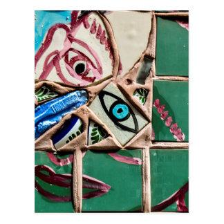 Inside Looking Out Mosaic Graffiti Postcard