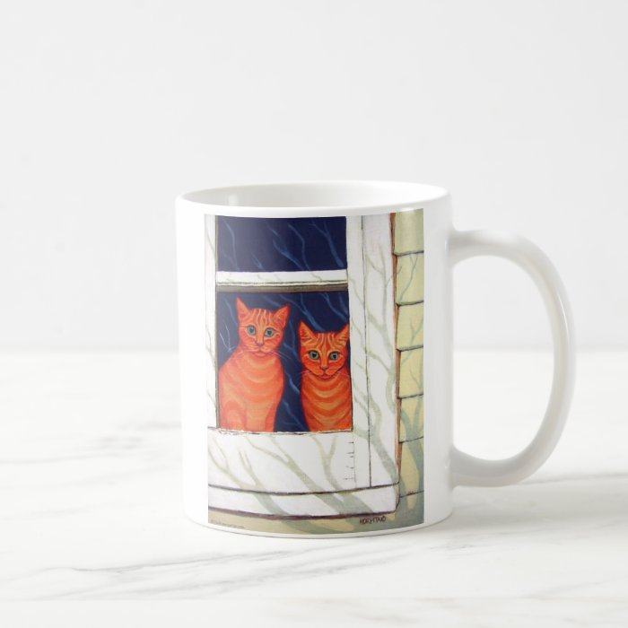 Inside Looking Out - Orange Tabby Cats Coffee Mug