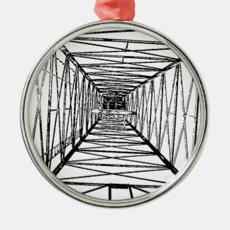 Inside Oil Drill Rig Sketch Metal Ornament