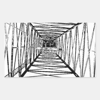 Inside Oil Drill Rig Sketch Rectangular Sticker