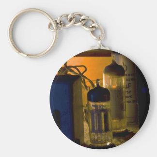 inside old radio basic round button keychain
