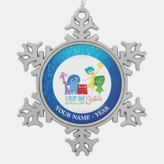 Inside Out   All Characters Add Your Name Snowflake Pewter Christmas Ornament
