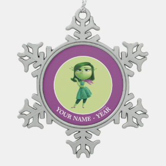 Inside Out   Disgust Standing Add Your Name Snowflake Pewter Christmas Ornament