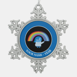 Pewter Snowflake Ornament with Inside Out's Sadness with Rainbow design