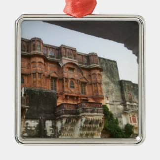 Inside Royal Ghanerao Castle, Rajasthan, India Square Metal Christmas Ornament