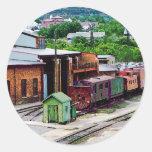 Inside the Train Yard Classic Round Sticker