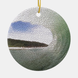 Inside The Tube. A Surfers View. Tiled look Double-Sided Ceramic Round Christmas Ornament
