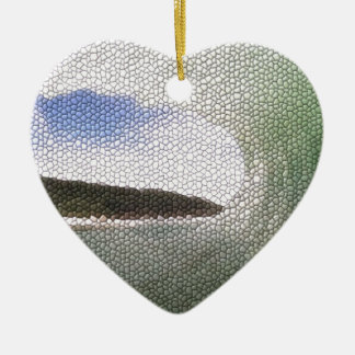 Inside The Tube. A Surfers View. Tiled look Double-Sided Heart Ceramic Christmas Ornament