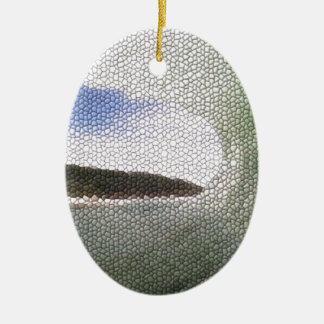 Inside The Tube. A Surfers View. Tiled look Double-Sided Oval Ceramic Christmas Ornament