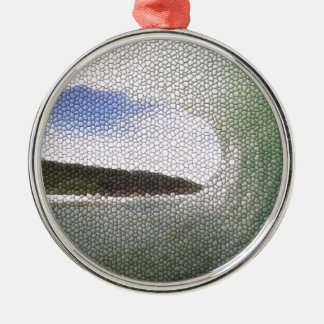 Inside The Tube. A Surfers View. Tiled look Round Metal Christmas Ornament
