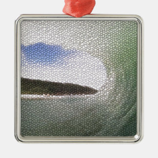 Inside The Tube. A Surfers View. Tiled look Square Metal Christmas Ornament