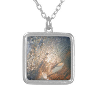 Inside the tube surfing wave square pendant necklace