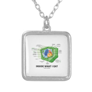 Inside What I Eat (Plant Cell Biology Vegetarian) Square Pendant Necklace